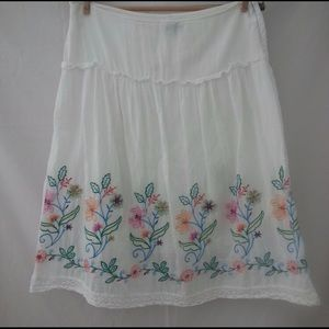 Dresses & Skirts - White Skirt with embroidered flowers